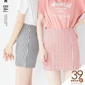 褲裙 格子縫線小開叉後拉鍊A字短裙M-L號-BAi白媽媽【190437】