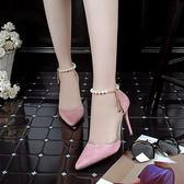 粉色高跟鞋細跟公主名媛八公分8厘米學生少女18歲韓版夜店性感潮 晴光小語