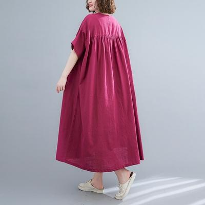 長版棉麻洋裝連身裙~8362 棉麻寬松大碼連身裙MC071C愛尚布衣