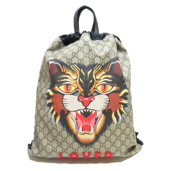 GUCCI 古馳 米色PVC雙G LOGO後背包Angry Cat Print Drawstring Backpack【BRAND OFF】