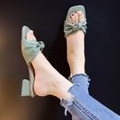 高跟拖鞋 涼鞋拖鞋女夏時尚外穿學生韓版網紅ins韓版2021新款粗跟高跟鞋女