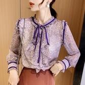 限時特購 打底衫女長袖春裝新款潮氣質荷葉邊雪紡上衣百搭洋氣薄款襯衫