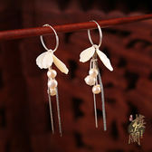 冷淡風貝殼珍珠耳環925純銀耳圈氣質超仙流蘇復古風耳墜耳飾品女