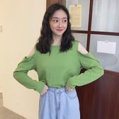 露肩上衣 2020秋季新款韓版網紅小心機露肩上衣寬鬆顯瘦綠色長袖T恤女學生
