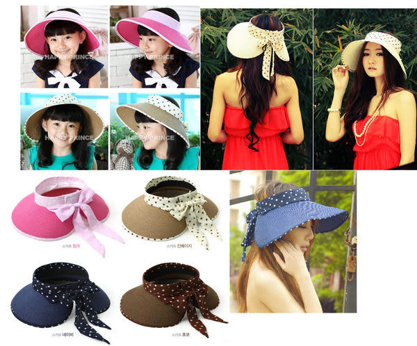 親子款圓點絲帶可折疊遮陽帽 空頂帽/小熊造型草帽(大人款)