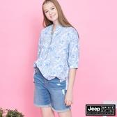 【JEEP】女裝 清新典雅花卉五分袖襯衫-白色