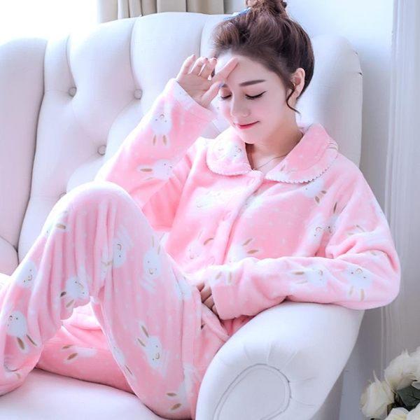 韓版法蘭絨睡衣女秋珊瑚絨加厚春秋套裝可愛大碼家居服 優家小鋪