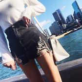 2018新款牛仔裙半身超短裙高腰破洞流蘇褲裙