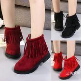 短靴女童短靴2018新款韓版冬季兒童靴子流蘇女孩馬丁靴學生棉鞋雪地靴【購物節再續 最後一天】