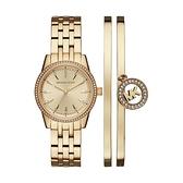 【Michael Kors】美式璀璨晶鑽時尚腕錶+手環套組-奢華金/MK3742/台灣總代理公司貨享兩年保固