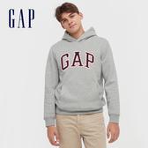 Gap男裝 Logo撞色字母連帽休閒上衣 618862-淺灰色