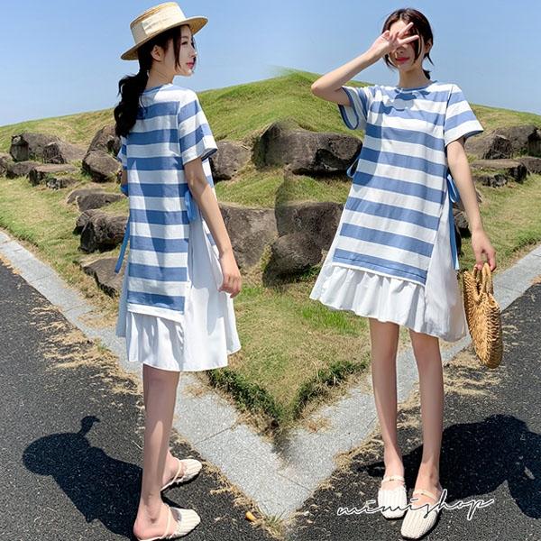 孕婦裝 MIMI別走【P521222】愛戀地中海 條紋蝴蝶結拼接傘擺連身裙 短洋