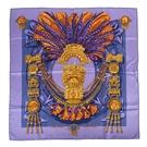 HERMES Mexique阿茲特克文明真絲披肩絲巾90cm(紫色)370038