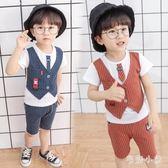男童禮服夏季兒童小紳士短袖兩件套潮寶寶短袖演出禮服 DJ12474『毛菇小象』