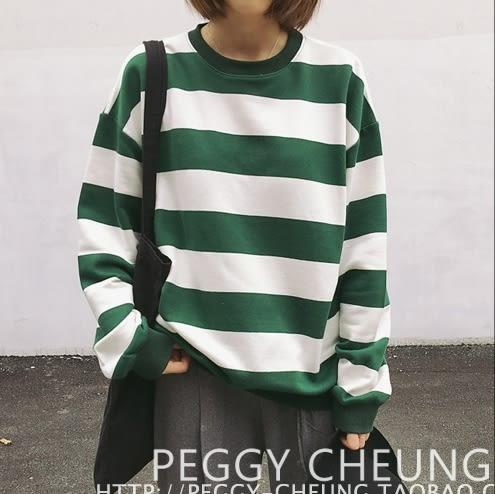 EASON SHOP(GT7405)大學T恤韓國秋季復古文青簡約基本OVERSIZE拼色撞色粗橫條紋長袖圓領寬鬆上衣