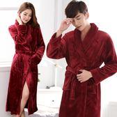秋冬季法蘭絨睡袍女男睡衣珊瑚絨紅色結婚冬天加厚加長款情侶浴袍