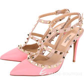 VALENTINO ROCKSTUD 鉚釘繫帶高跟鞋(蜜粉色) 1610020-05