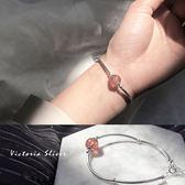 S925純銀 優雅簡約森林系甜美草莓晶手鍊-維多利亞180681
