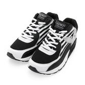 PLAYBOY 美式潮流 條紋拼接氣墊運動鞋-黑(女)