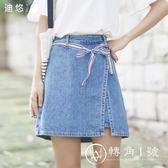 迪悠2018夏季新款韓版綁帶牛仔半身裙女裙子a字裙短裙百搭學生