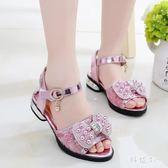 中大尺碼新款童鞋時尚蕾絲水鉆蝴蝶結兒童涼鞋公主學生涼鞋 js6092『科炫3C』