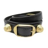 BALENCIAGA 巴黎世家 黑色山羊皮金釦手環 Giant Bracelet M 236345 【BRAND OFF】