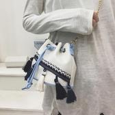 小包包2019夏季女包新款鍊條流蘇水桶包時尚民族風迷你單肩斜跨包
