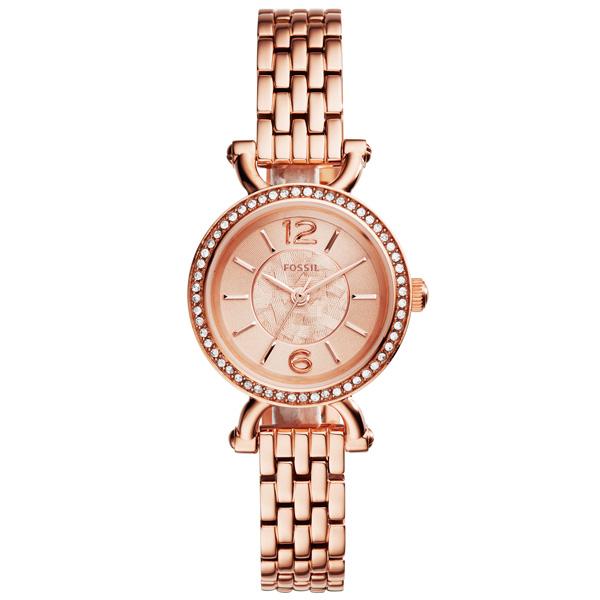 FOSSIL 時光交錯晶鑽時尚腕錶-玫瑰金