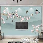 新中式花鳥電視背景牆紙3D立體家和富貴客廳影視牆布裝飾壁紙壁畫ATF 極客玩家