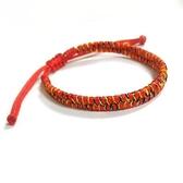 大紅線與五色線編織手環
