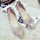 韓版甜美百搭顯瘦尖頭單鞋女高跟鞋3cm中空花朵低跟小細跟伴娘鞋  限時八折嚴選鉅惠