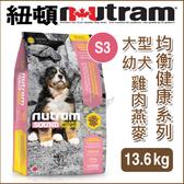 PetLand寵物樂園《紐頓NUTRAM》均衡健康系列 - S3 大型幼犬 雞肉燕麥 13.6kg / 狗飼料