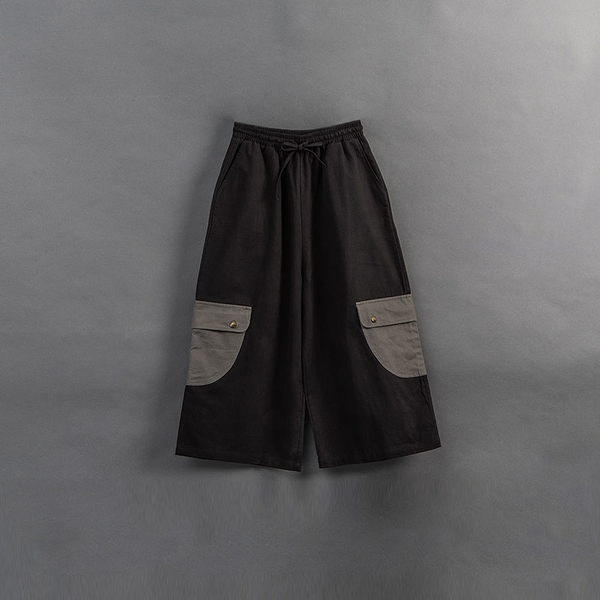 Queen Shop【04110364】親子系列 撞色口袋造型九分寬褲 1/2/3*現+預*