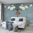 電視背景墻美式電視背景墻壁紙家用簡約現代客廳臥室裝飾墻紙7d麋鹿壁畫墻布