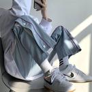 排扣褲 褲子男休閒褲韓版潮寬鬆排扣運動褲男直筒潮流ins百搭闊腿褲【618特惠】