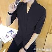夏季韓版修身男士黑色五分袖襯衫英倫男生時尚休閒百搭中袖襯衣潮 蘿莉小腳丫