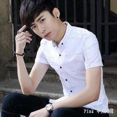 夏季短袖襯衫男士韓版青少年學生格子休閒襯衣男半袖寸衫 nm3601 【Pink中大尺碼】
