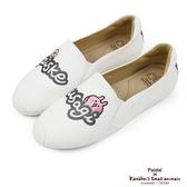 Paidal x 卡娜赫拉的小動物 角色個性logo貼布繡平底休閒鞋樂福鞋懶人鞋-白