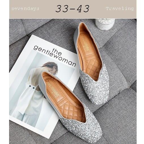大尺碼女鞋小尺碼女鞋方頭小亮片小鑽V口修飾剪裁平底鞋娃娃鞋包鞋晚宴鞋婚鞋銀色(33-43)