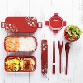 日式飯盒便當盒學生成人帶蓋長方形雙層塑料分格午餐盒可微波爐    易家樂