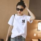 素色T恤 純棉2020夏裝新款白色t恤女...