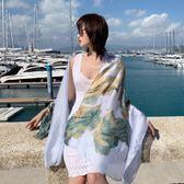 紗巾夏季輕薄圍巾女防曬絲巾百搭薄款海邊超大沙灘巾兩用披肩夏天 初語生活