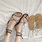 夏季新款韓版chic氣質綁帶休閒鞋女涼鞋交叉系帶平底鞋百搭潮  蒂小屋服飾