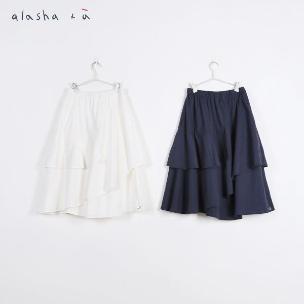 a la sha +a 線條格子波浪剪接中長裙