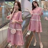 漂亮小媽咪 法系洋裝 【D8351】 短袖 花邊 喇叭袖 傘擺 蝴蝶結 孕婦洋裝 孕婦裝