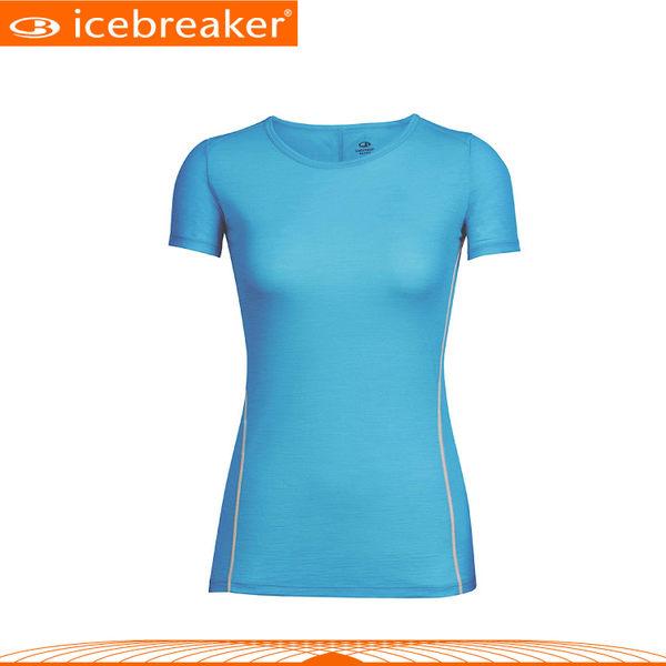 【Icebreaker 女 AERO圓領素色短袖上衣GT120《海藍/白》】103792/快乾機能服/透氣衫/運動