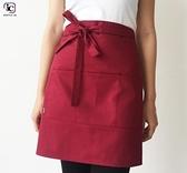 韓版時尚半身圍裙工作咖啡店廚師餐廳服務員廚房超市定制logo 向日葵
