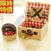 野餐籃 餐具組合-二人份蘇格蘭格紋風郊遊用品68e26[時尚巴黎]