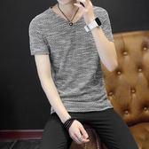 男士短袖t恤V領純色青年夏季男裝韓版半袖衣服修身潮流體恤打底衫