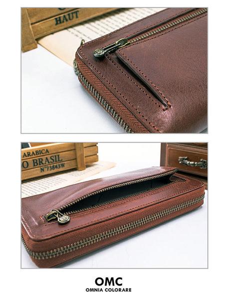 OMC -  時尚精工牛皮原皮單拉鍊多層長夾